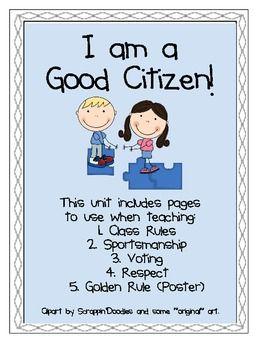 I am a Good Citizen- Rules, Voting, Golden Rule, Sportsmanship ...
