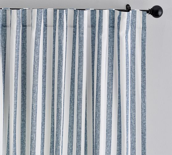 Eden Stripe Curtain Set Of 2 Blue In 2020 Ticking Stripe Curtains Striped Curtains Living Room Decor Curtains