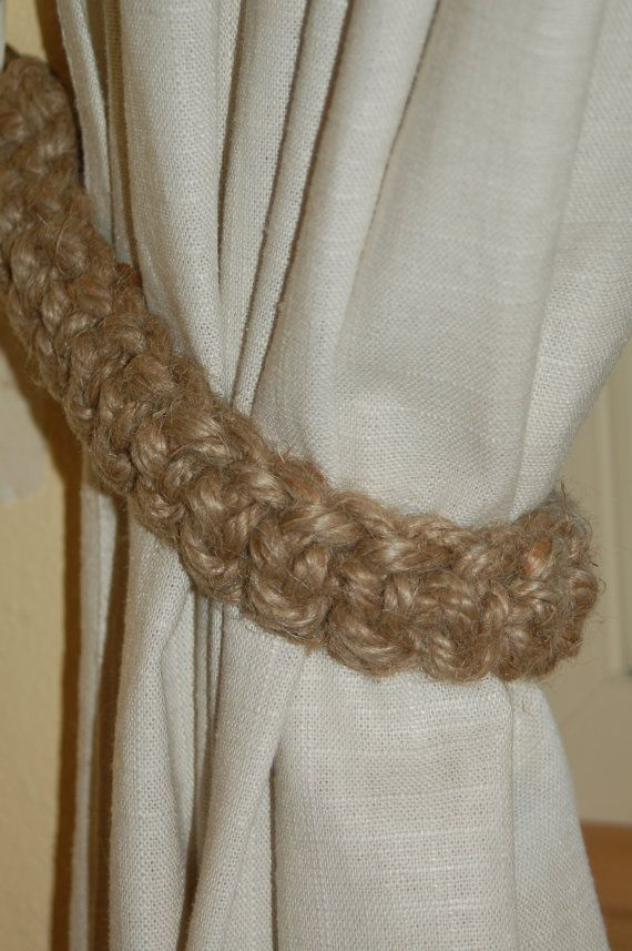 Rustic Curtain Tie Back In Natural Jute Rope By Mountblossom With Images Curtain Ties Rustic Curtains Curtain Tie Backs