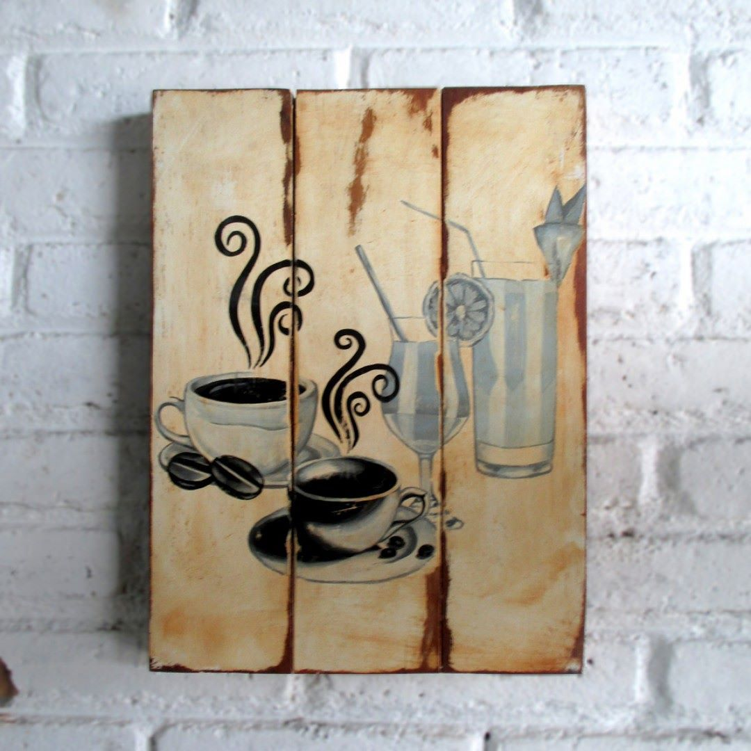 Kopi dan Minuman Lain.  Spray stencil on wood. 30 x 40 x 2 cm  #woodsign #homedecoration #homeandliving #vintage #alldecos