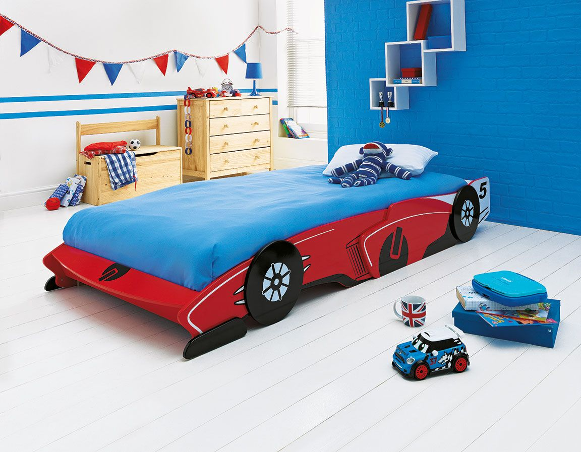Blue car beds for kids - This Fun Red Painted Children S Racing Car Bed From Argos Is Perfect For Any Car