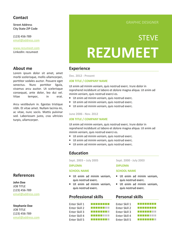Peckham  Free Resume Template  Green  Classic Resume Templates