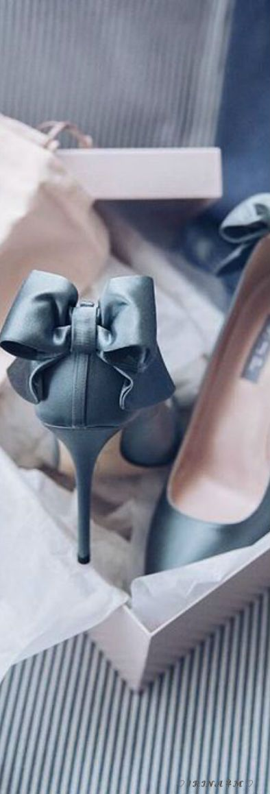 Satin Slate Blue Stilettos With Bow Back Shoes Heels Crystal Shoes Bridal Wedding Shoes