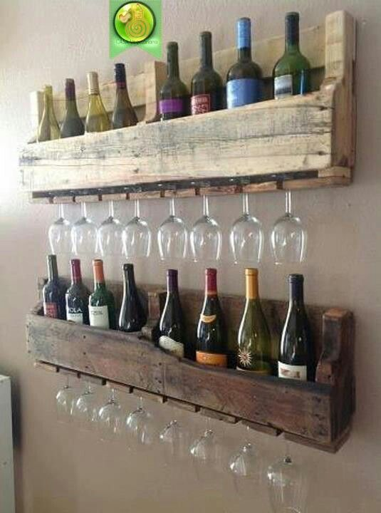 Racks Pallet Bar Bottle And Gl Holder