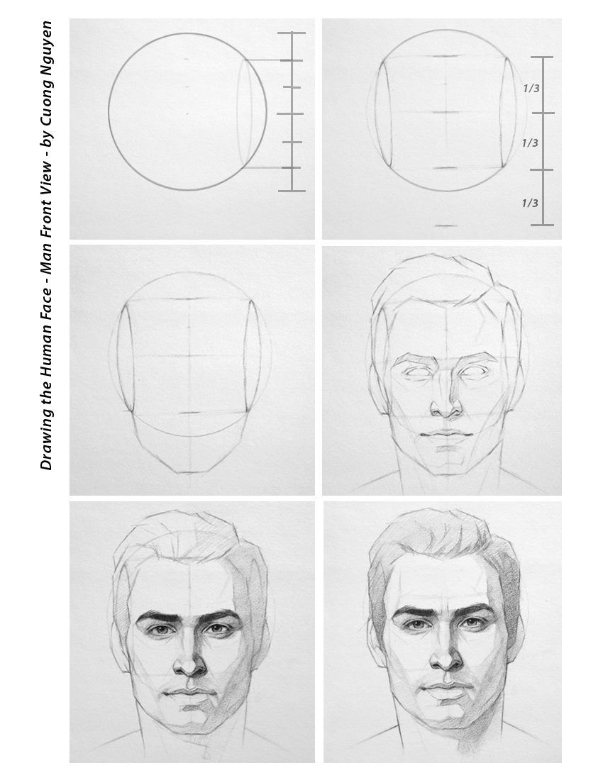 How To Draw A Mans Face From The Front View Male Easy
