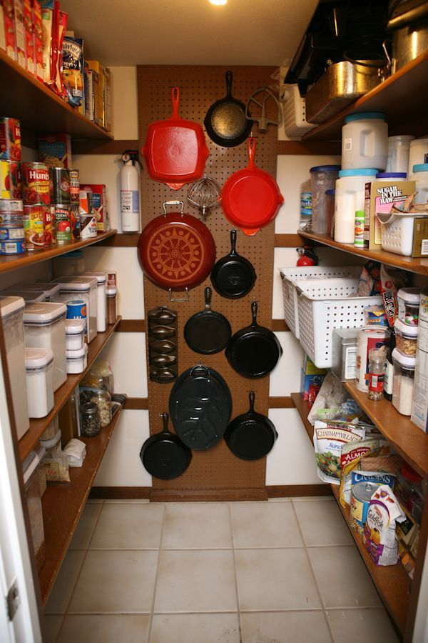 Instead of stacking heavy pots and pans on top of each other (and using up valuable shelf space) just install peg board on a free wall. Suddenly your heavy-duty items are on display and easy to grab.