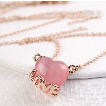 Simple Pink Love&Heart Women's Fashion Necklace