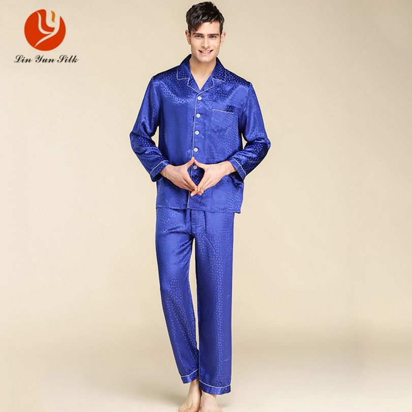 f4a56a38aa Click to Buy    LIN YUN Silk Pajama Sets for Men Sleepwear Button ...