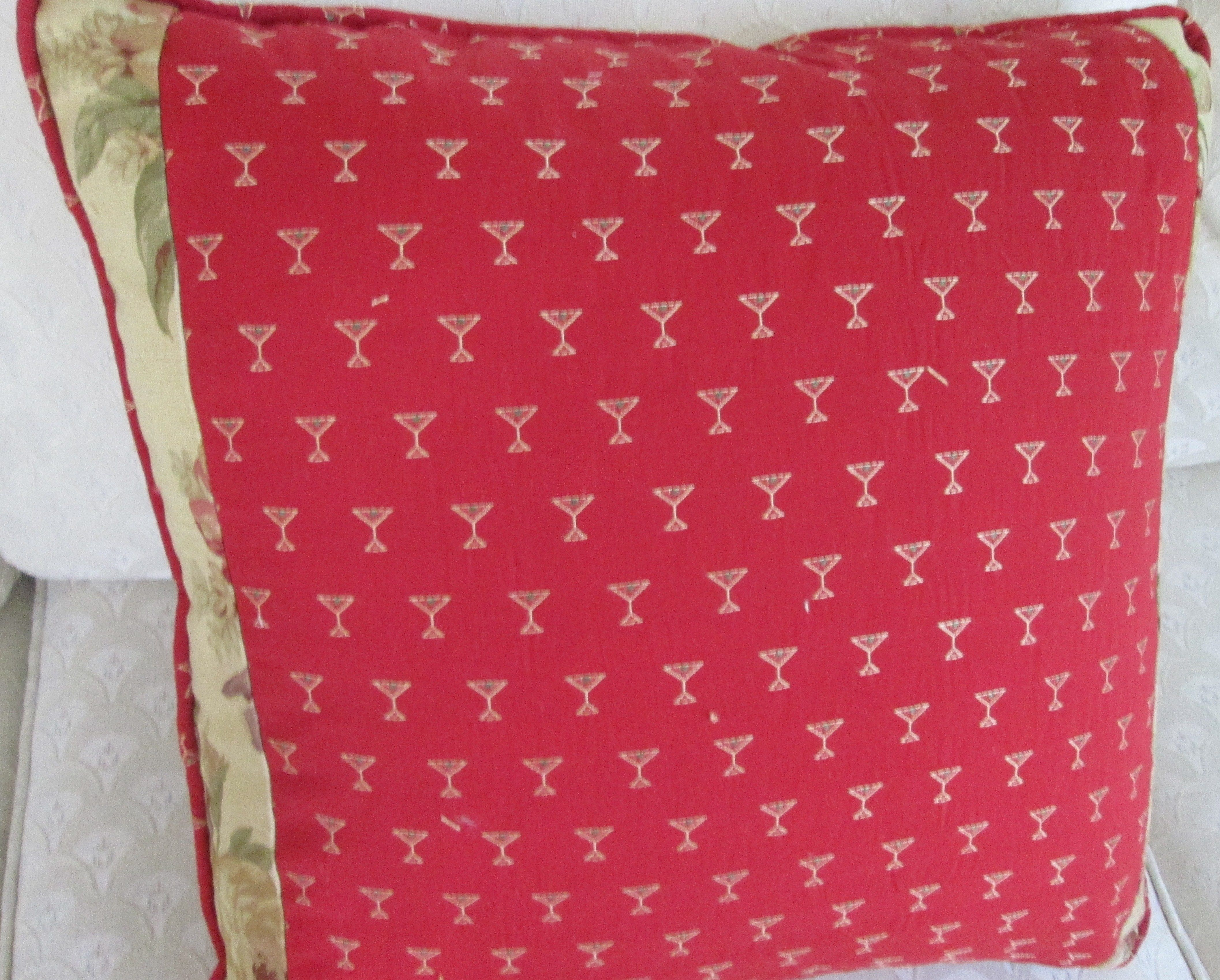 """red 20"""" martini glass pillow poly & 4 coasters"""