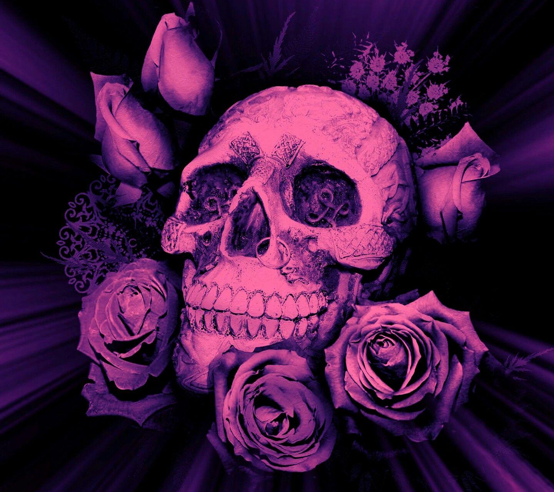 Hot Pink Skull And Roses Skull Wallpaper Skull Skull Art