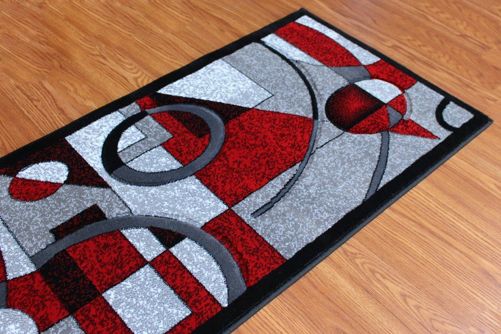 Masada Rugs Sophia Collection Hand Carved Area Rug Modern Contemporary Red Grey White Black 2 Feet X 7 Feet 3 Inch Runn Modern Area Rugs Red And Grey Area Rugs