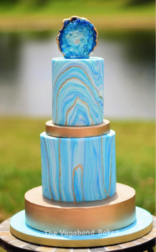 The Vagabond Baker Geode Cake With Marbled Fondant