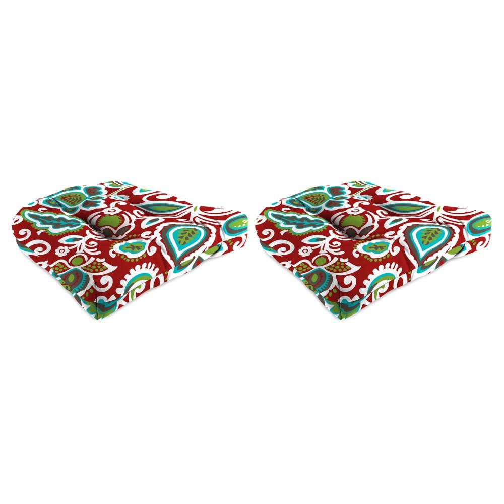 Outdoor set of 2 wicker chair cushions in faxon rojo