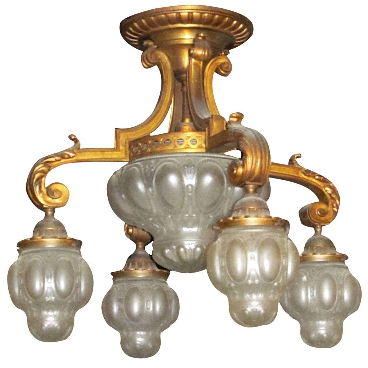 1910s cast bronze flush mount downlight chandelier with cast glass 1910s cast bronze flush mount downlight chandelier with cast glass globes from a unique collection arubaitofo Images