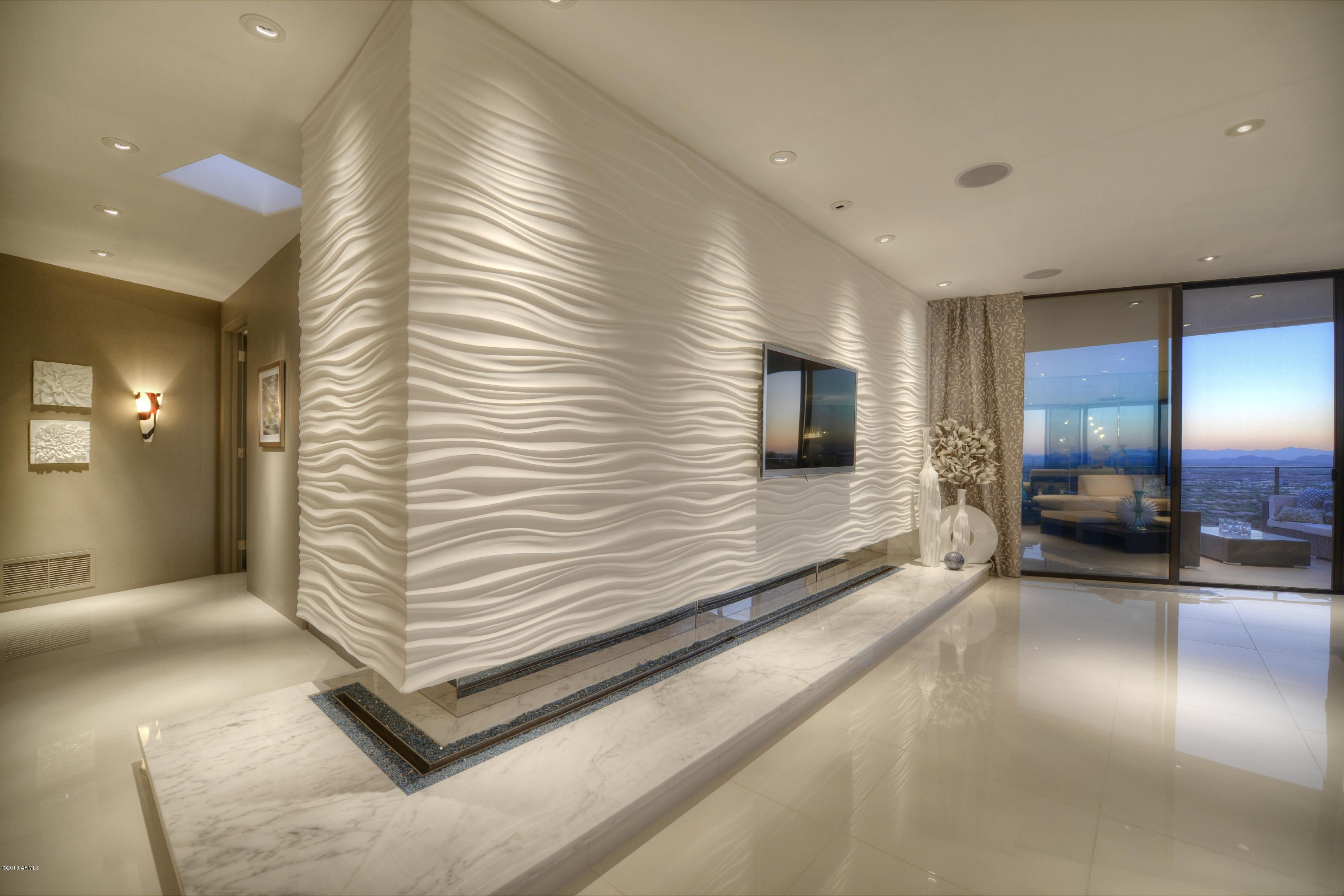 Wave Accent #Wall #Tile with #Fireplace | Window Wall Design Ideas ...
