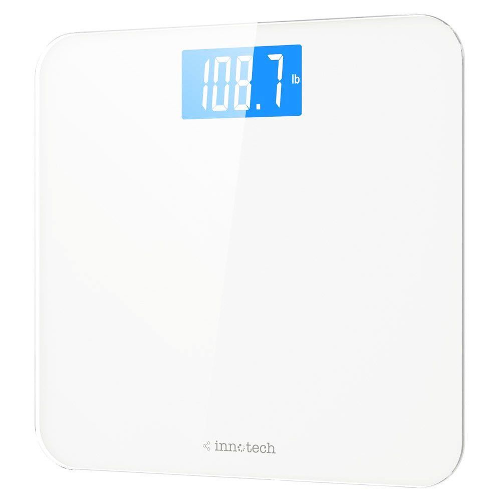 Innotech Digital Body Weight Bathroom Scale With Easy To Read Backlit Lcd White Innotech Bathroom Scale Digital Scale Bathroom Bathroom