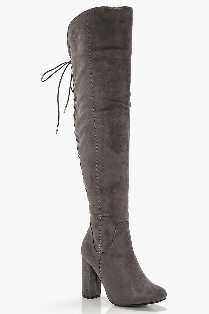 fce92a811fd Lace Back Block Heel Over The Knee Boots
