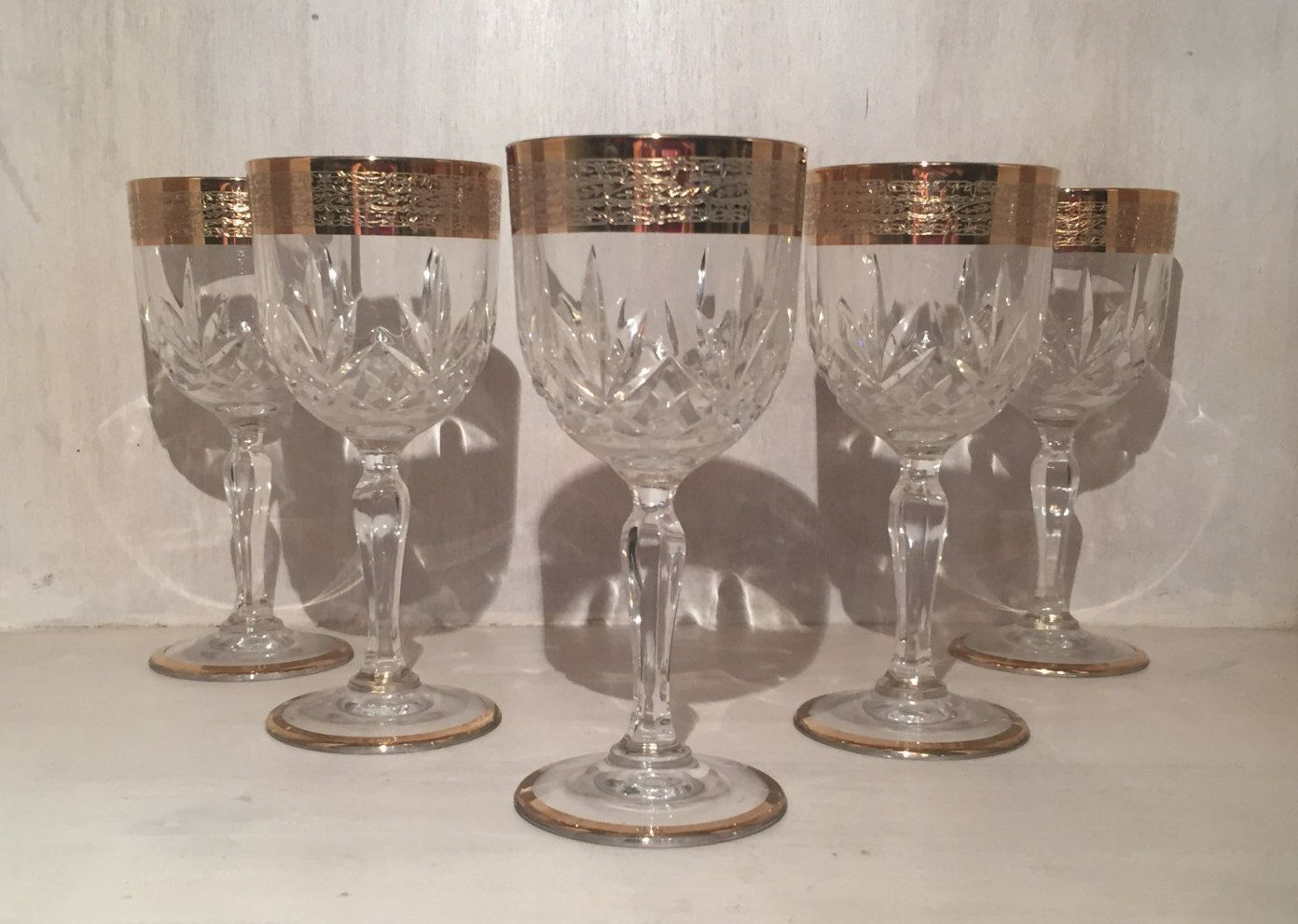Large Crystal Wine Glasses Crystal Wine Glasses With 24kt Gold Patterned Rim Set Of 5