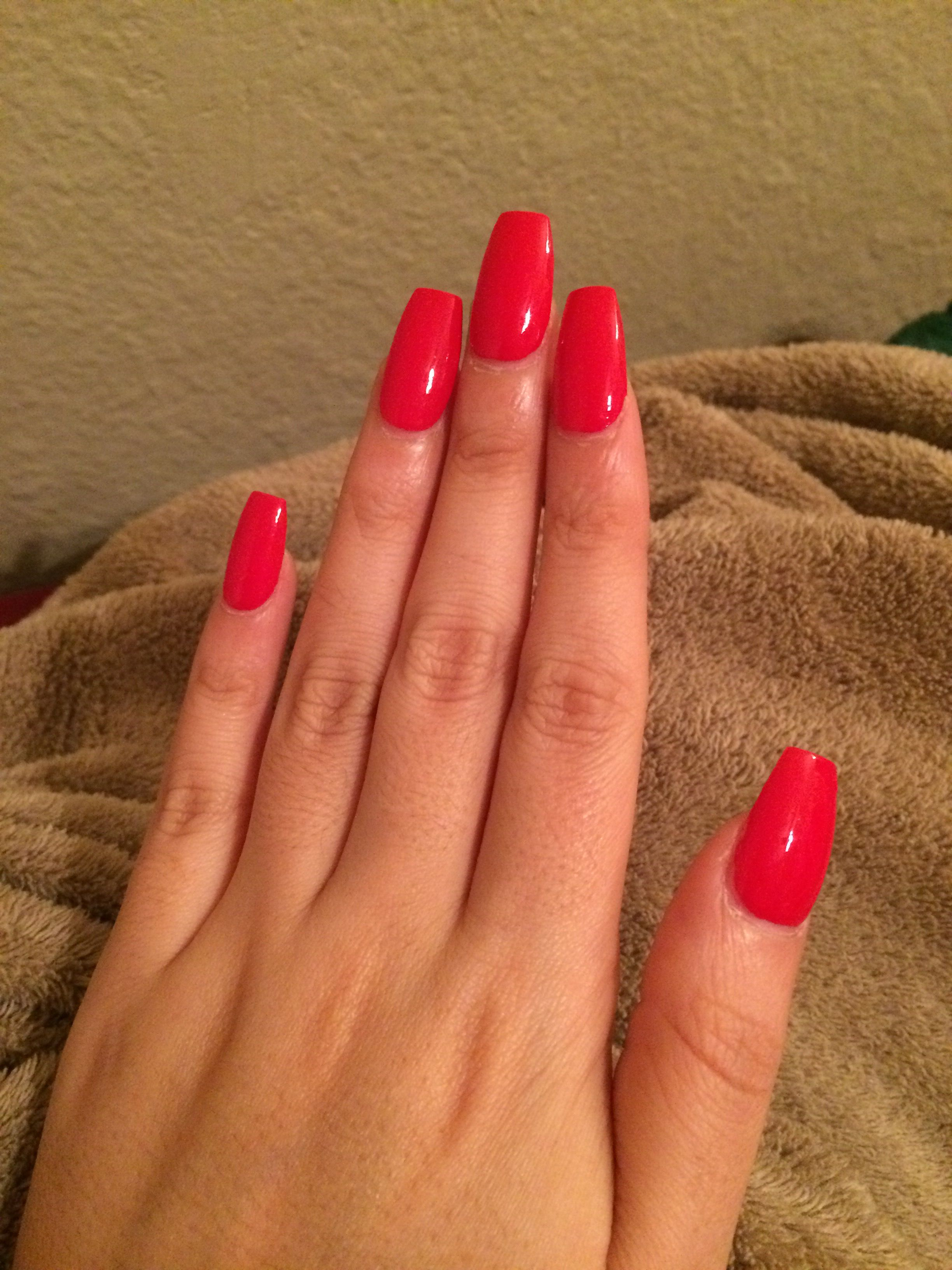 Red acrylic coffin nails. | Nail Painting | Pinterest