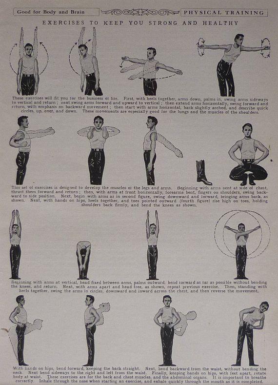 1930s Vintage Print Of Exercise Techniques
