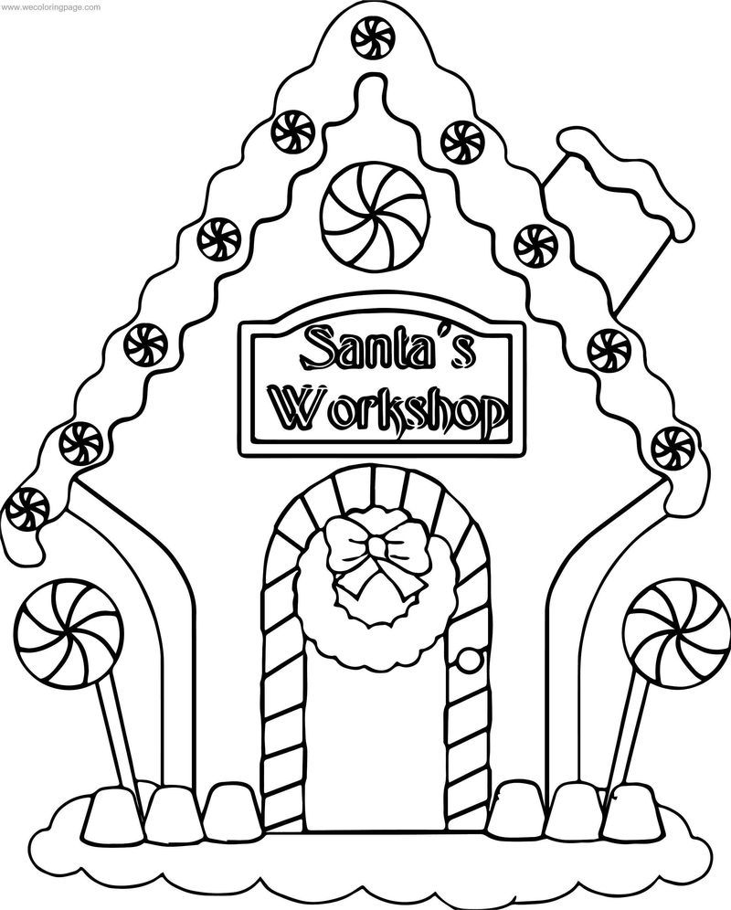 Gingerbread Santa Workshop Coloring Page Coloring Pages Santas