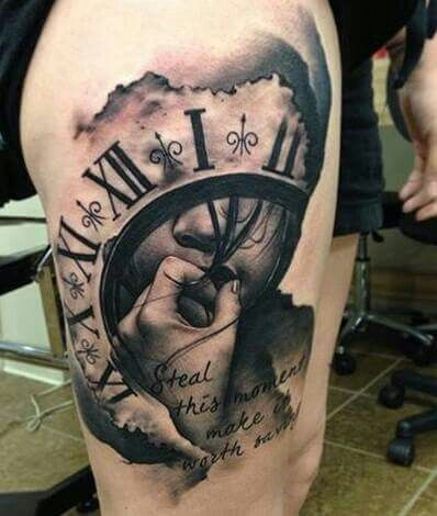 tattoo face clock tattoo 39 s pinterest time clock. Black Bedroom Furniture Sets. Home Design Ideas