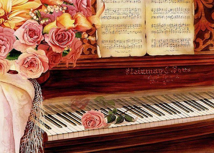Открытки с днем рождения рояль и цветы