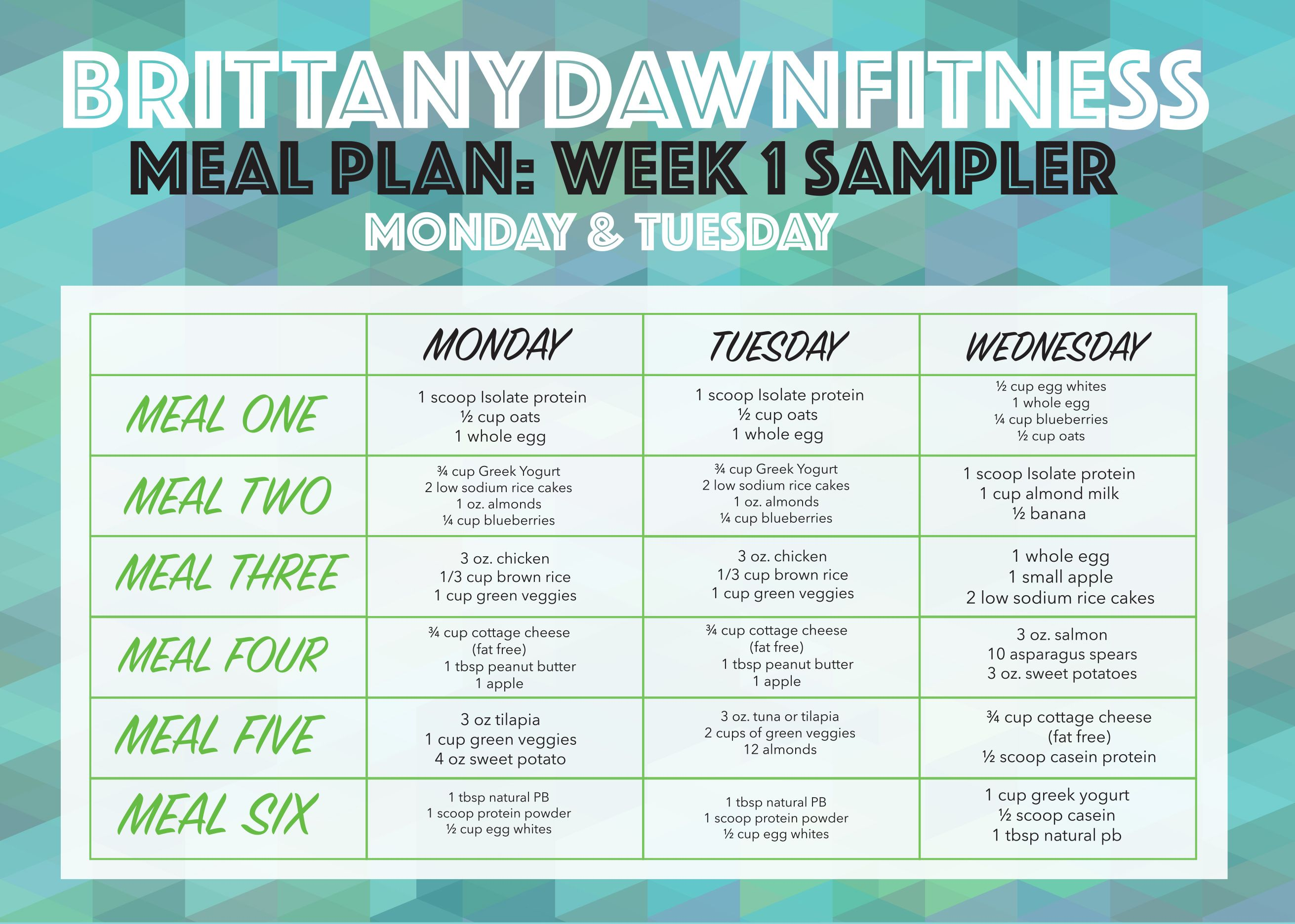 Free 1 month diet and exercise plan