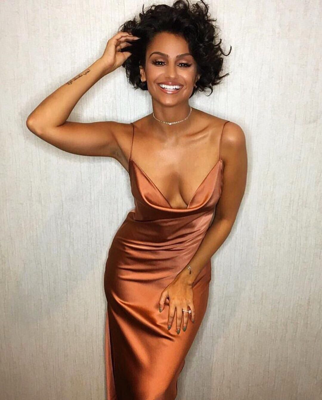 Revolve On Instagram We Ve Never Seen A Sexier Slip Dress Than This Lpathelabel On Nazaninmandi Orange Prom Dresses Copper Bridesmaid Dresses Copper Dress