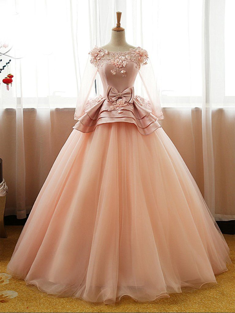 Pink tulle mid sleeve long court prom dress with bowknot, long satin top evening dress
