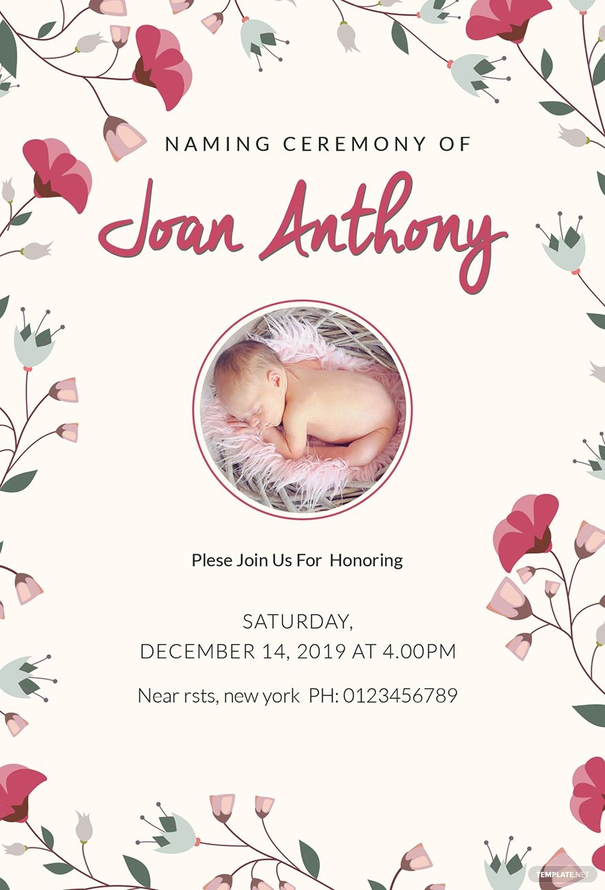 Happiest Naming Ceremony Invitation Template Free Pdf Word Psd Publisher Naming Ceremony Invitation Naming Ceremony Invitation Template