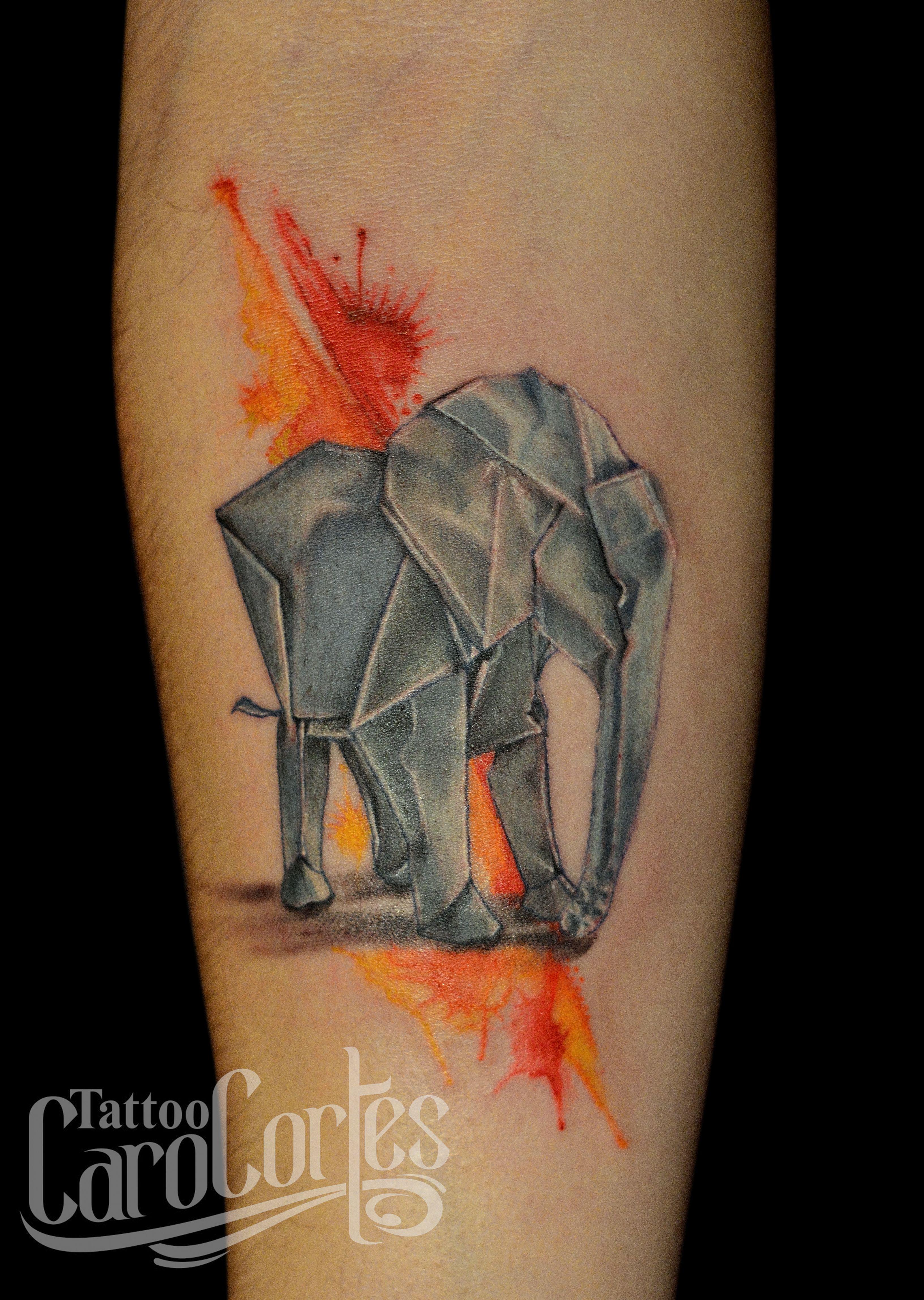 Orgami elephant... Origami Elephant Tattoo