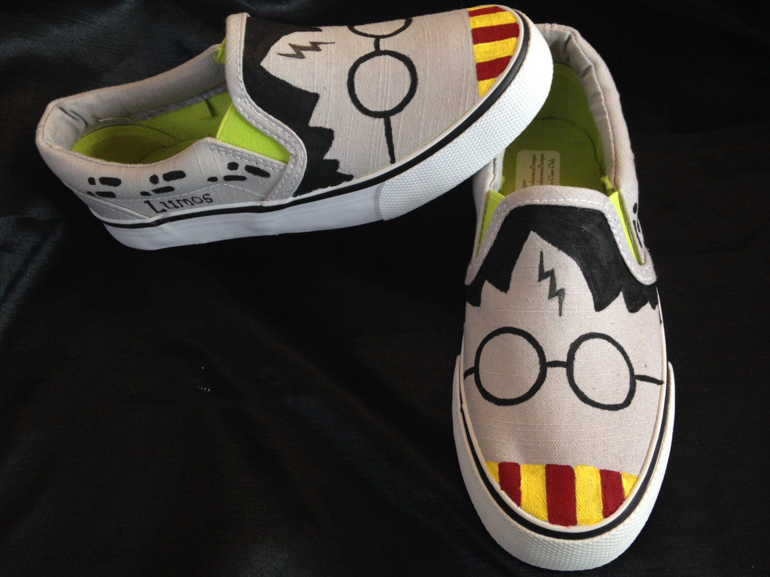 Harry Potter Inspired Hand Painted Shoes Etsy Canvas Shoes Diy Harry Potter Shoes Painted Shoes