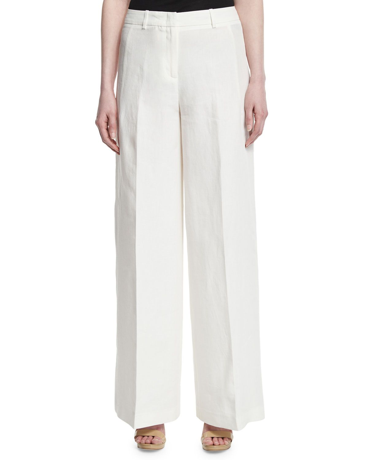 High-Waist Linen Wide-Leg Pants, White