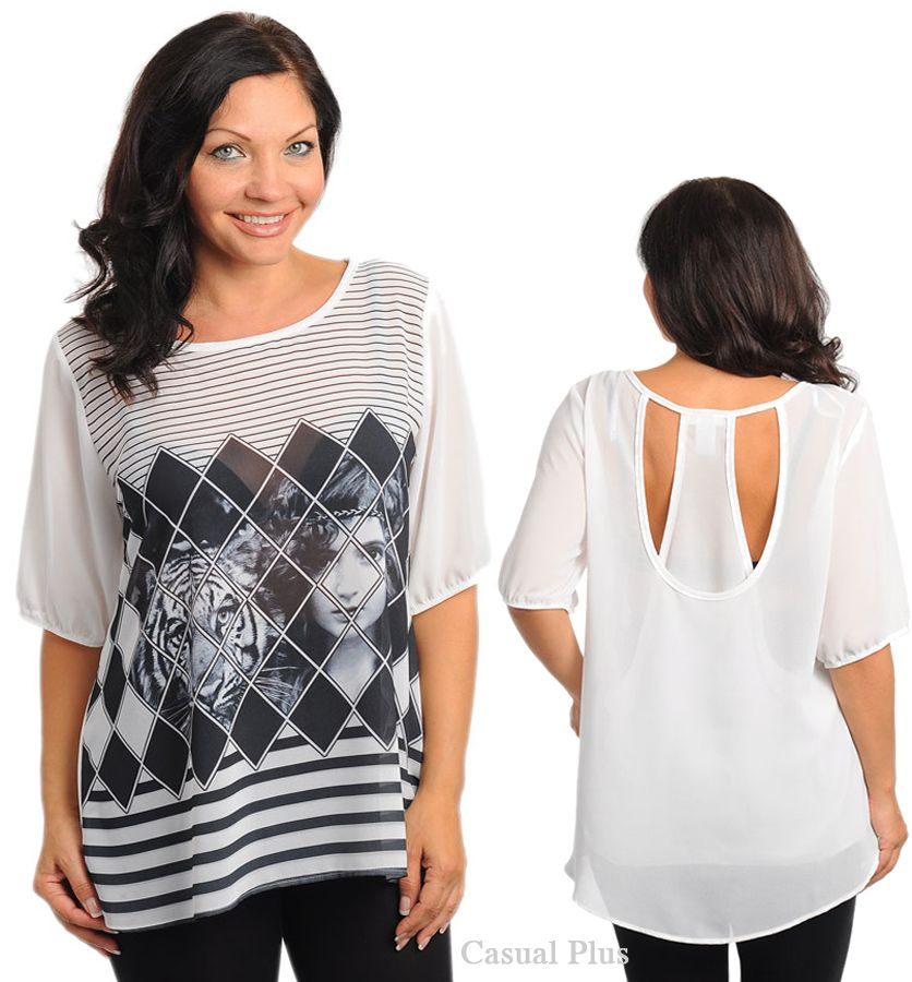 Casual Plus Fashion Trendy Tops For Junior Plus Size Lady Plus Size
