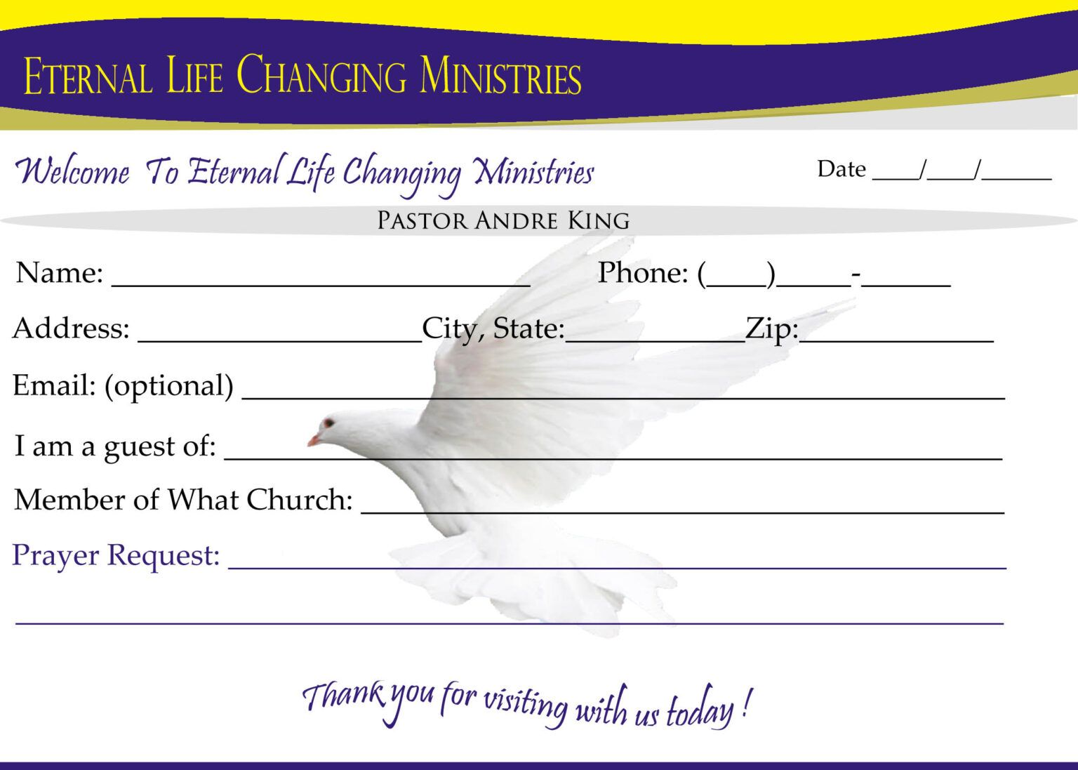 Eternal Life Visitor Card B