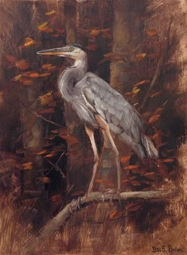 "Daily Paintworks - ""Blue Heron"" - Original Fine Art for Sale - © Bibi S. Brion"
