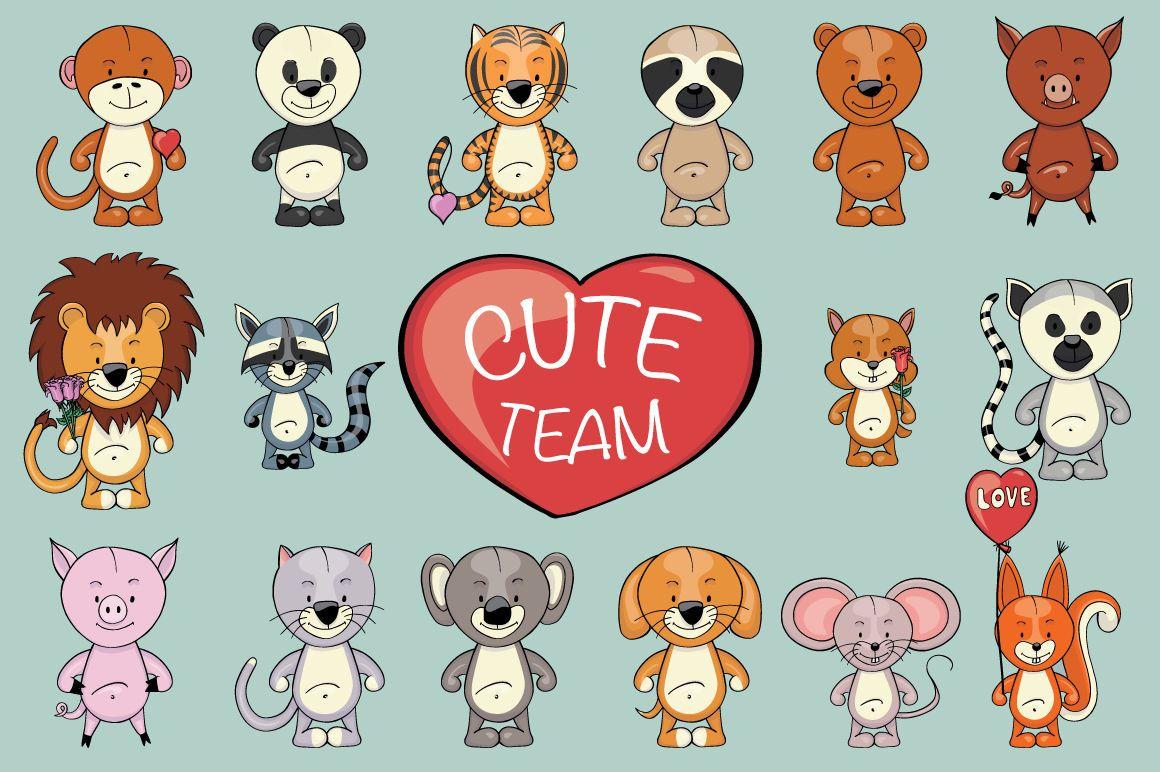 Cute Team Animals clipart creator By Ink & Brush Art