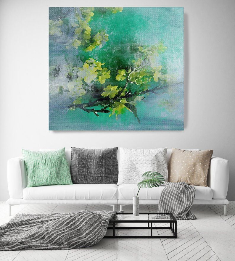 Green Bunch 3 Green Turquoise Rustic Floral Painting Rustic Etsy In 2021 Oversized Canvas Art Floral Painting Canvas Art Prints