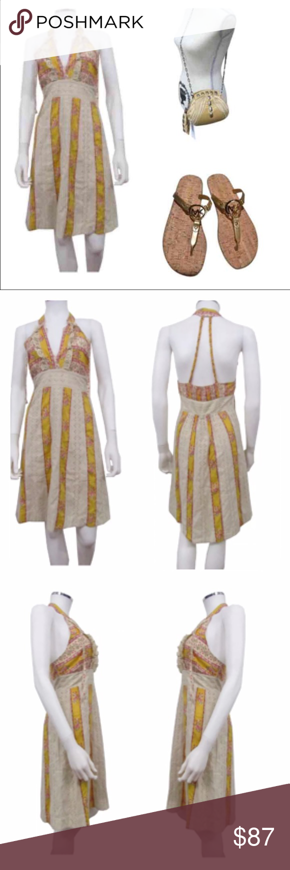 """Free People Braided Floral Halter Dress 🌟NEW without Tags 🌟MSRP: $168.00 🌟Size: 6  👗Halter dress cut with a v-neck  👗Eyelet floral  👗Delicate braided straps  👗Smocked back 👗Above knee  👗100% cotton  👗Across chest: 14.5"""" 👗Waist: 13.25"""" 👗Hip: 20.5"""" 👗Length: 37.25""""  🗯MK NWT GOLD LOGO CHARM JELLY FLIP FLOP SANDALS: See my other listing.   *🗯JUST CAVALLI NWT POCHETTE: See my other listing.   PRICE is currently FIRM Free People Dresses Mini"""