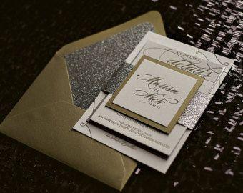 Gold Silver Glitter Letterpress Wedding Invitation Suite Sample Lauren