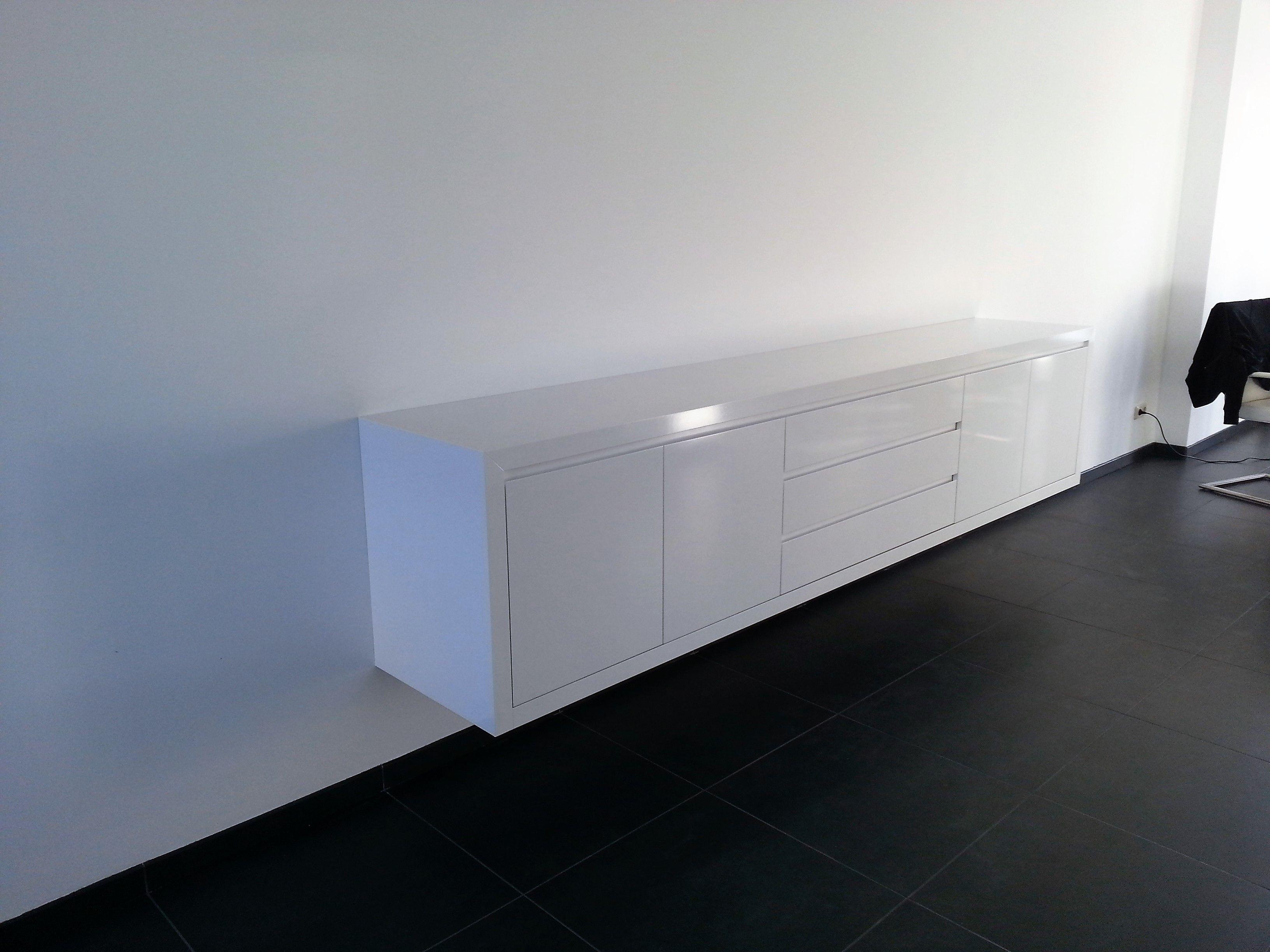 zwevend hoogglans wit dressoir 300 cm dressoirs op maat