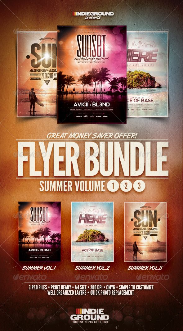 Summer Flyer/Poster Bundle Vol. 1-3 These flyers were designed to promote an Alternative / Rock / Singer-Songwrter / Trance / Dubstep / Chillout / Lounge music event, such as a gig, concert, festival, party or weekly event in a music club and other kind of special evenings. These posters can also be used for a new album promotion, a surf event or other advertising purposes. http://startupstacks.com/print-templates/summer-flyerposter-bundle-vol-1-3.html - free download