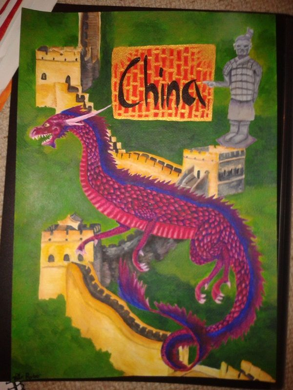 my China poster 2014 acrylic painting  by Diana Barber