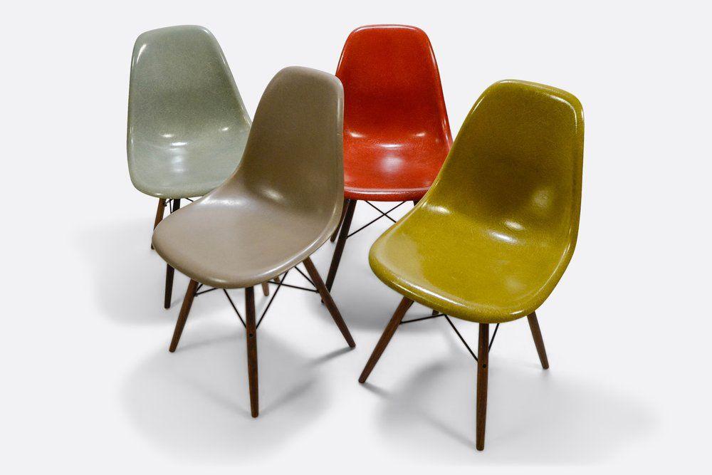 Set Of 4 Eames Dsw Fiberglass Shell Chair Herman Miller Vitra Fiberglass Shell Chairs Shell Chair Eames