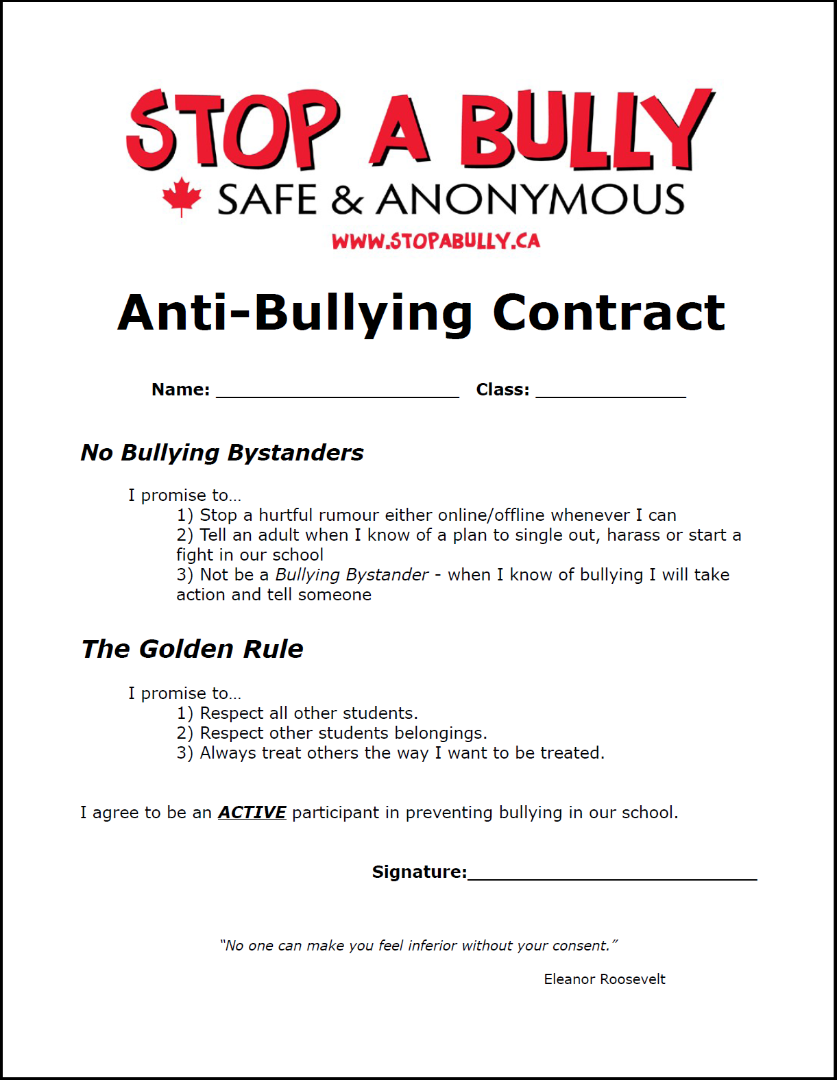 Example Of An Anti Bullying Contract For Students