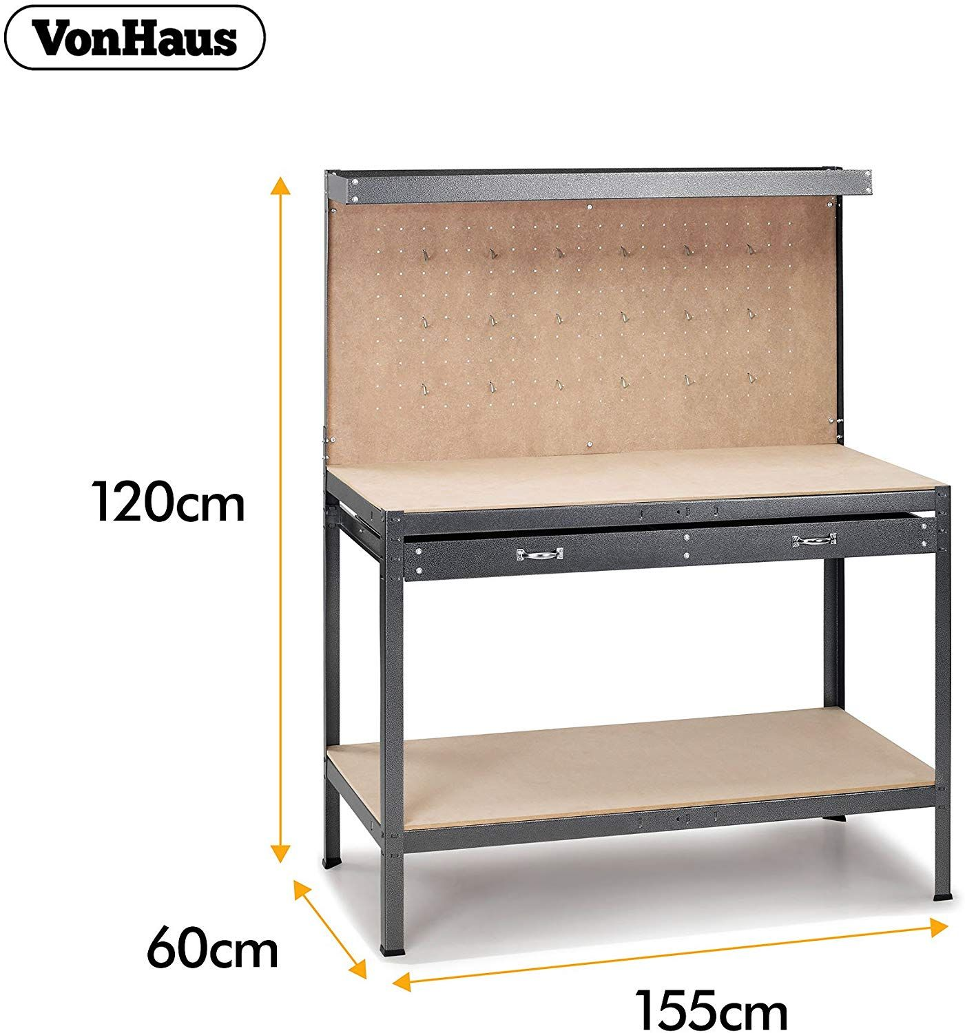 Vonhaus Garage Workbench Pegboard Heavy Duty Reinforced Steel With Storage Drawer Shelf Grey Hammered Texture Fin Drawer Shelves Work Table Storage Drawers