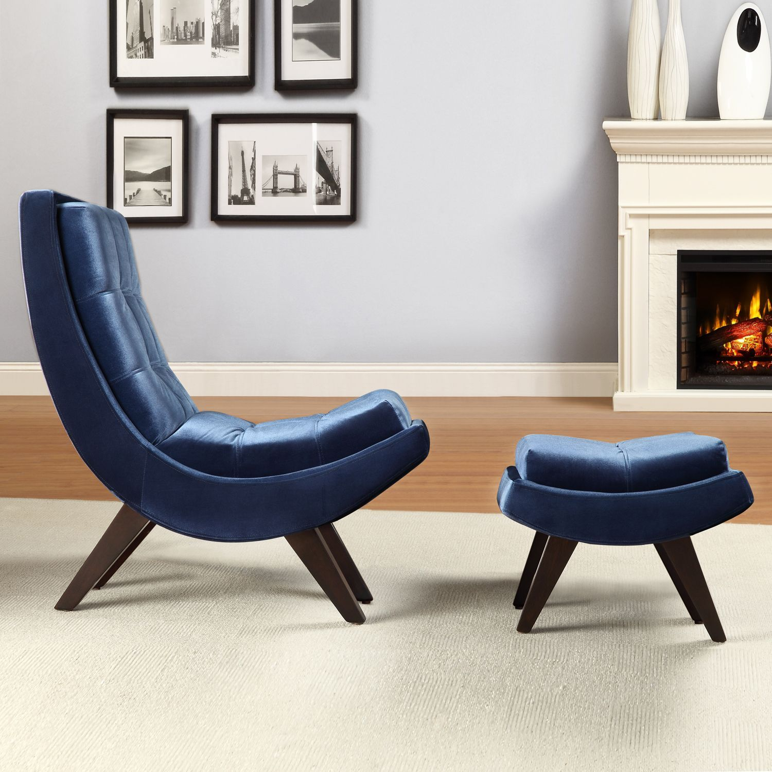INSPIRE Q Albury Blue Velvet Curved Chair and Ottoman Set by iNSPIRE Q