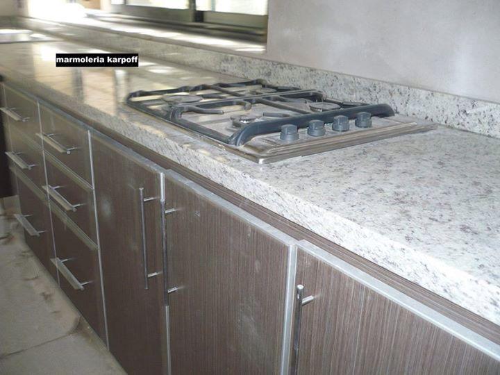 Granito Blanco Dallas Con Regrueso Mesa De Concreto Cocinas