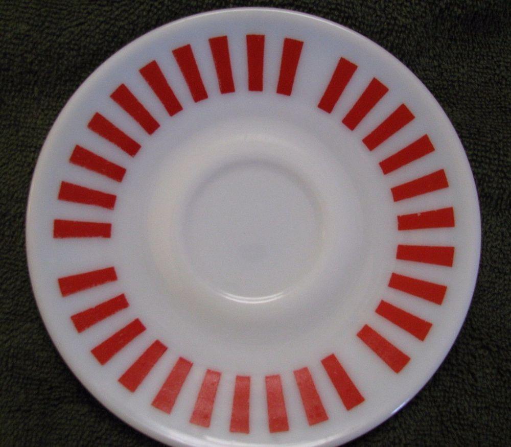Vintage Hazel Atlas Red Candy Stripe Milk Glass Saucer Excellent Condition